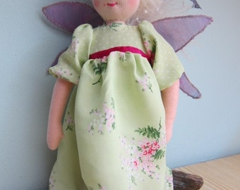 Morgan fairy, magical forest fairy, fairy doll with meadow dress, 10 3/4 inches, Fay, pixie, OOAK, collectors doll, collectible art doll