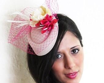 Cream ivory fascinator with fuchsia veil wedding hat WINTERLICIOUS CREAM
