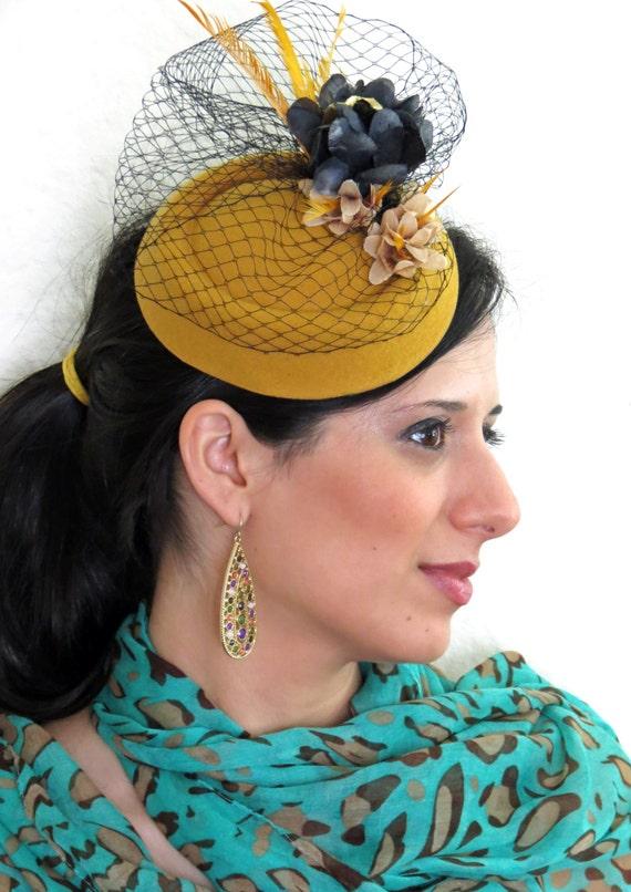 Fascinator yellow mustard felt tiara wedding hat with black veil WINTERLICIOUS YELLOW