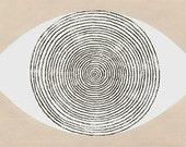 contemporary art: desert eye. ooak hand-colored monoprint