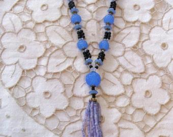 Vintage Lavender and Black Glass Tassel Necklace (N-2-3)
