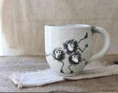 vintage handmade figural pottery mug, childs mug, quirky mug, studio pottery