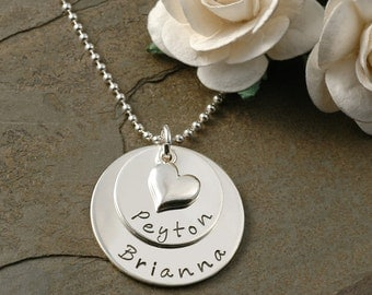"Hand Stamped Necklace - Medium Double Stacked - Personalized Necklace - with heart - 5/8"" and 7/8"" discs"