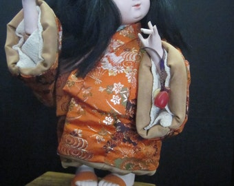 Ichimatsu Gofun Ningyo Girl Doll - Japanese Child Dancer in Kimono - Vintage Asian