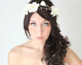 Flower Crown, Ivory, Delphinium Wedding Tiara, Bridal Hair Wreath, head wreath, fairy, woodland - LENORA - by DeLoop