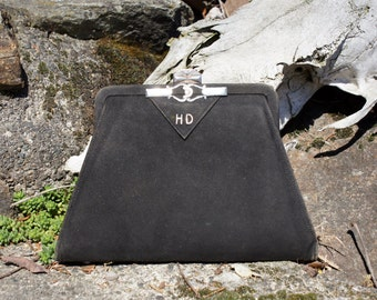 Foster & Bailey Sterling Deco Clutch Purse Black 1920's Evening Bag