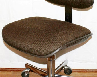 Mid Century Modern All Steel Vintage Industrial Office Task Chair Mad Men Office Desk Task Chair ca. 1970