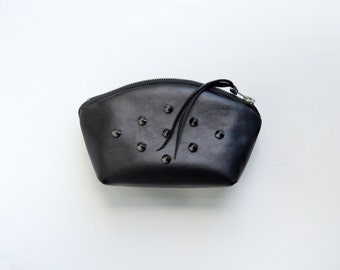 Sale!! Black Wristlet Studded Leather Evening Bag Pouch Handmade Wallet Evening Purse