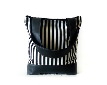 Black and White Tote Bag, Vegan Bag, Stripes Tote
