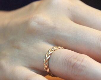 Bridal rings, womens wedding ring, Yellow Gold Wedding Ring, gold braided ring, Cool wedding rings, Commitment ring, trending wedding ring