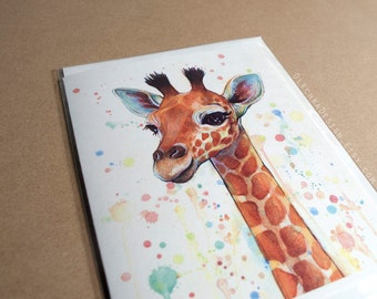 Animal Birthday Card, Baby Giraffe Watercolor Painting, Whimsical Animal Card, Blank Inside for Kids Children, Zoo Animal Illustration