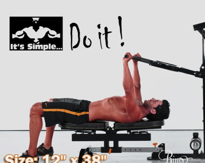 """Vinyl Decal MOTIVATION WALL QUOTES """" It's Simple , Do it"""" wall decal wall sticker runner gym push yourself"""