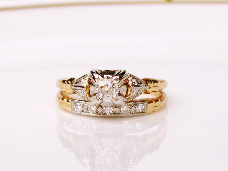Antique Engagement Ring Art Deco Wedding Set European Cut