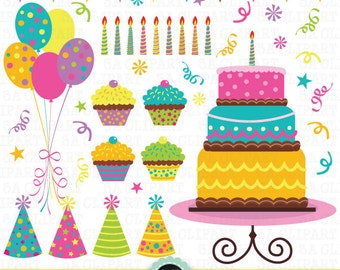 """Birthday Party Clip Art, """"Birthday CLIP ART"""" pack,Party Digital Clipart,Balloon,Cup Cake printables, invitations, digital scrapbooking Pt007"""