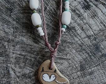 Healing Shard Necklace - Tiny Beach Pottery Owl