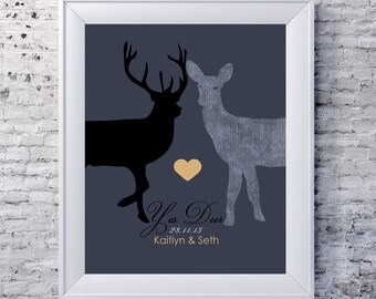 Charming wedding gift, Unique Gift for weddings, Yes Deer, personalized gift, Couples Wedding gift, Special Keepsake Gift