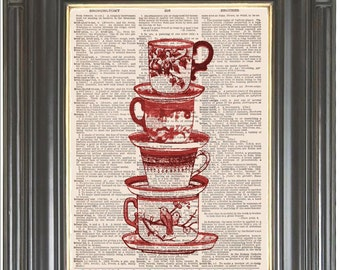 Cup stack kitchen wall art on dictionary or music page Dictionary art print COUPON SALE Wall decor Digital art print Sheet music  No. 684