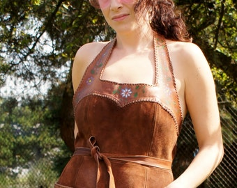Char Mexican Hand Painted Leather Hippie Dress