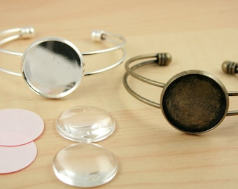 25 SILVER, Antique Silver or  BRONZE 25mm Bracelet Bezel Blanks. GLASS (25) Seals(25 or 50),  are Optional -Round Settings Great for Photo