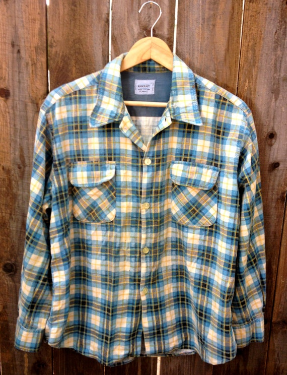 60's Mancraft Flannel Shirt // Blue, Yellow, White and Navy Plaid Pattern // Size Large Neck 16