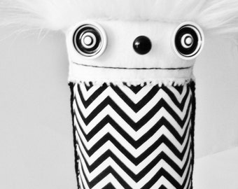 POLKADOTTYDOLL - Black and White Chevron Art Doll Plush Modern Plush Minimalist Plush Soft Sculpture Plushie OOaK Art Doll - LYNDA BLACK