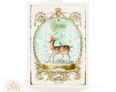 Deer, Christmas card, reindeer, let it snow, woodland, crowned bird, Christmas tree, snow dome, gold, aqua blue, holiday card