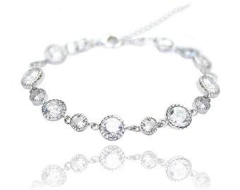 Wedding Bracelet, Bridal Bracelet, Cubic Zirconia Bracelet, Sparkly Tennis Bracelet, Bridesmaid Bracelet, Bridesmaid Gift, Wedding Jewellery
