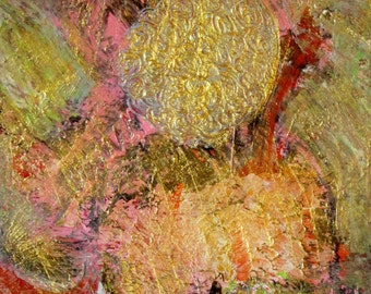 Original Small Abstract Painting with Gold, Pink, Fine Contemporary Art on Paper, Modern Wall Decor