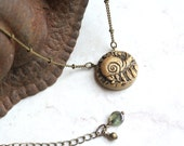 Gold Snail Necklace - Garden Jewelry - Snail Charm - Fern Necklace - Forest Jewelry - Snail Jewellery - Snail Pendant Necklace - Garden Art