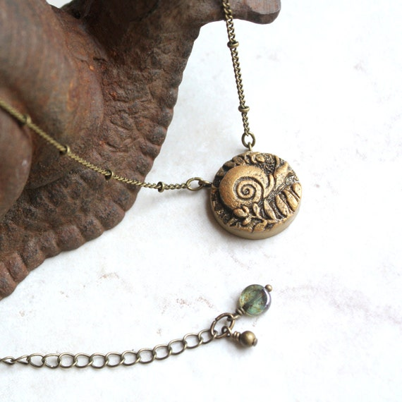 gold snail necklace garden jewelry snail charm by