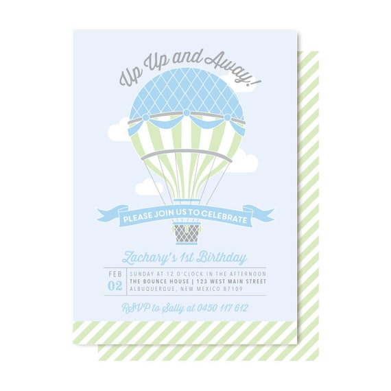 Hot Air Balloon Birthday Invitations Boy Balloon Invitation