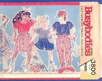 1989 Girls' Dress, Top, Skirt, Shorts & Pants - Butterick Busybodies Sewing Pattern 3800