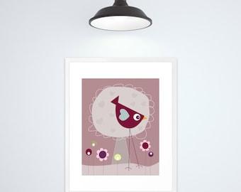 Nursery art prints, nursery art, nursery decor, nursery print, kids wall art, kids art, baby room decor, baby nursery decor, bird, pink
