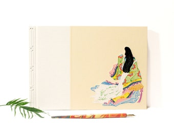 Sei Sonagon. Hand Embroidered Sketchbook. Japanese Stab Bound A4 Guest Book. Ukiyo-e Album. Asian Art Sketchbook. OOAK Geisha Journal