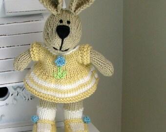 Bunny Plush - Bunny Kids - Handknit Bunny Rabbit - Plush Bunny Doll - Girl Gift - Stuff Animal - Kids Toy - Knit Toy - Child Toy - Bonnie
