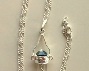 Magic Quartz Crystal Wand and Sterling Silver Pendant or Necklace With Amethyst Bead
