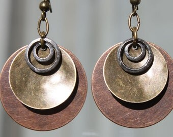 Copper Earrings Brass Earrings Mixed Metal Earrings Boho Earrings Bohemian Earrings Dangle Jewelry