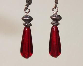 Red Earrings Dangle Earrings Drop Earrings Copper Earrings Czech Glass Earrings Boho Chic Valentine s Day Gift for women gift for women Gift