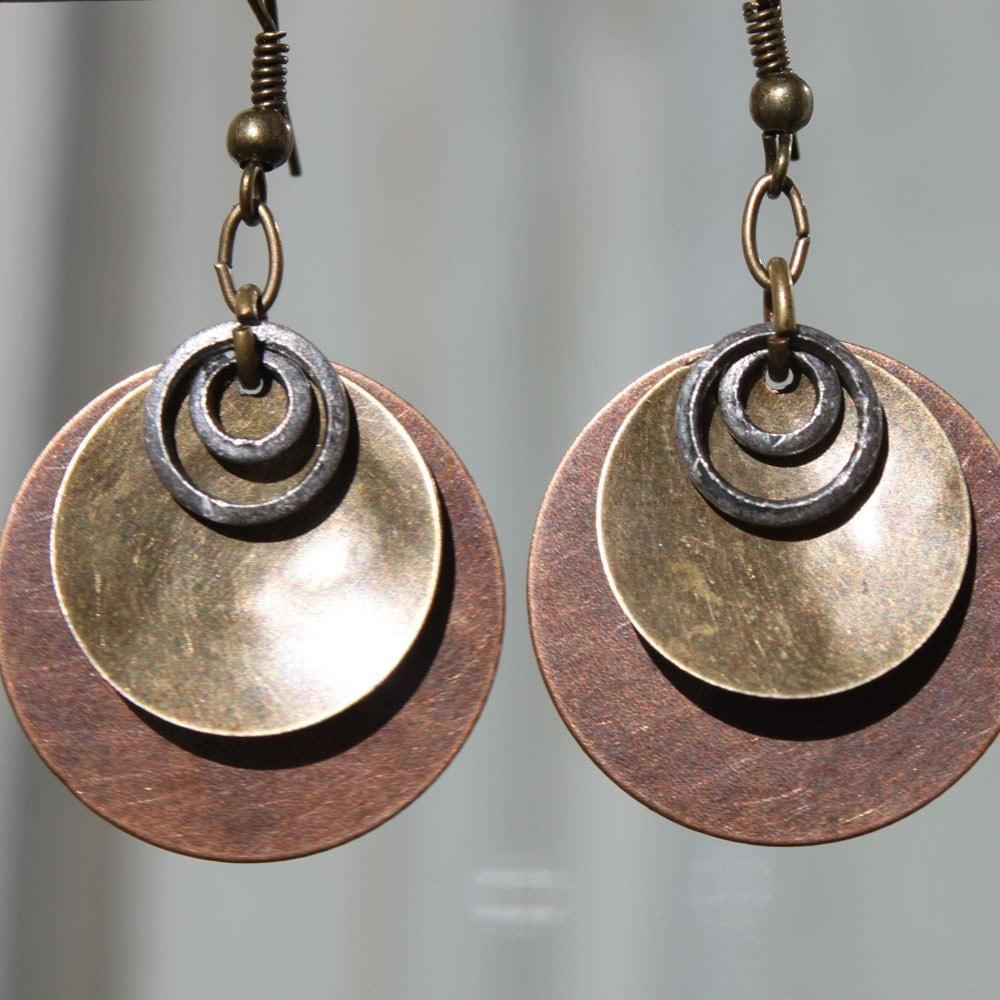 Copper earrings brass mixed metal by ntikartjewelry
