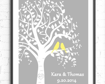 Custom Wedding Gift, Personalized Anniversary Gift, Wall Art Print, Tree Bird Print, Personalized Wall Art, Wedding Tree Unique Wedding Gift