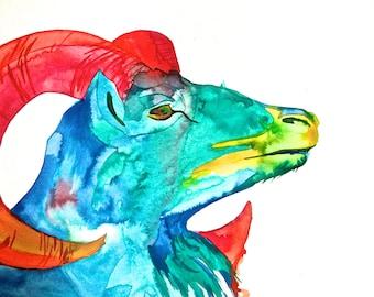 Rainbow Goat Print, Original Art, Liquid Acrylic