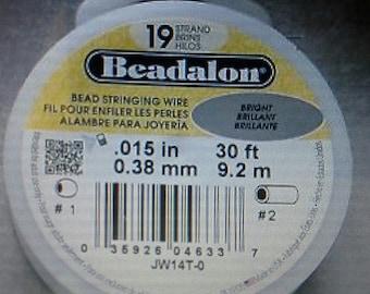 Beadalon .015in  Nylon Bright Stainless Steel Beading Wire 30ft 19 strand