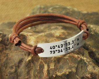 Latitude Longitude Bracelet Rope Bracelet, Coordinates  Bracelet, Personalized alloy Bracelet Gift for wife valentinegift Christmas Gift