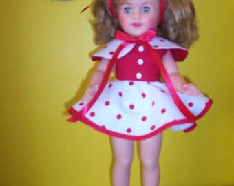 "Red, Green or Black Polka-Dot Dress~Cape~Panties Fits 15"" Vinyl Shirley Temple and 14"" P-90 Toni Doll Made To Order"