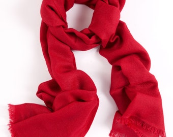 Scarlet Red 70% Cashmere and Silk Scarf