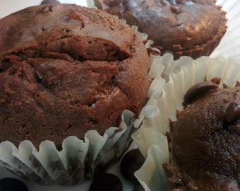 Low Carb High Protein  Organic Double Chocolate muffins (Paleo and Keto Friendly)