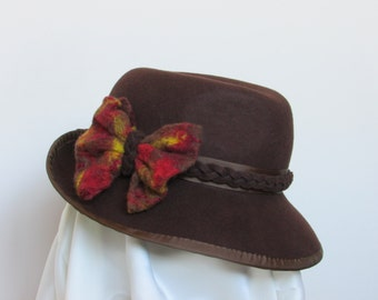 Brown felt hat, 100% wool felt with a colourful bow tie