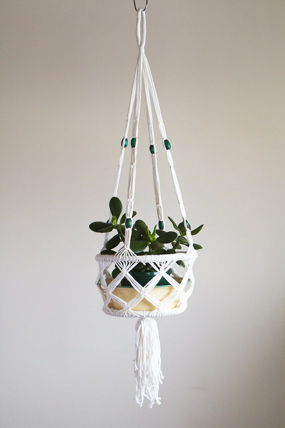 macrame pot plant hanging basket with green bead. Black Bedroom Furniture Sets. Home Design Ideas