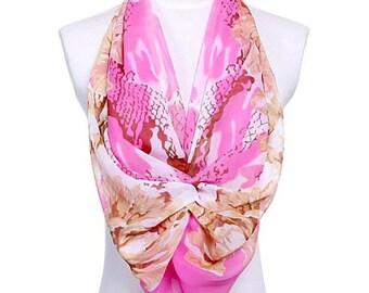 Womens Scarf, Pink Scarf, Floral Print Scarf, Chiffon Scarf, Voile Scarf, Cotton Scarf, Fashion Scarf, Shawl, Womans Scarf