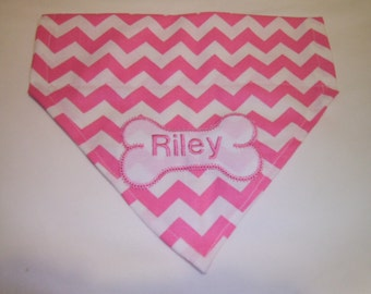 Personalized, Dog Bandana, Pink,  Chevron, Monogram, Over the Collar, dog scarf, Embroidery, gift, stocking stuffer, Christmas present